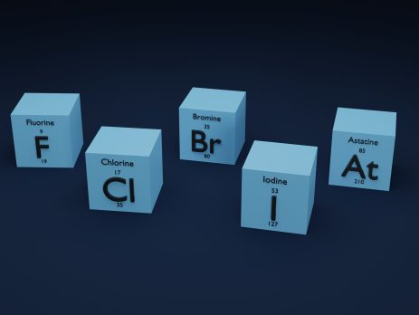 3D illustration of group 7(17), the halogens